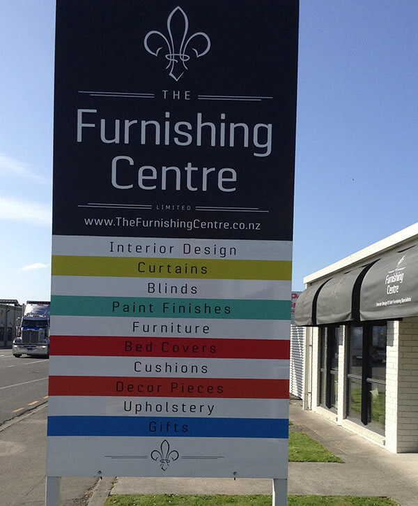 Exterior Signboard Of The Furnishing Centre In Blenheim