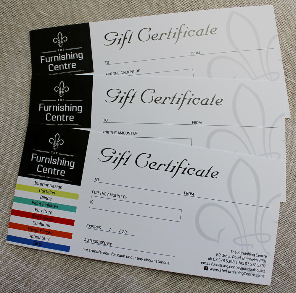 Gift Certificates Are Available At The Furnishing Centre